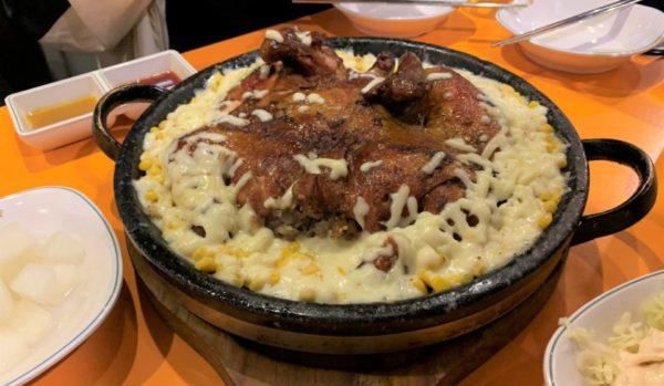 キムジョンヨンおこげチキン ハンナム店 :  スモークチキン×コーンチーズで豪快韓国料理♪
